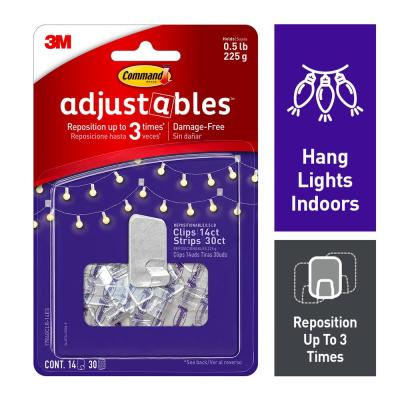 Command Adjustables 1/2 lb. Clear Repositionable Clips (14 Clips with 30 Adhesive Strips)