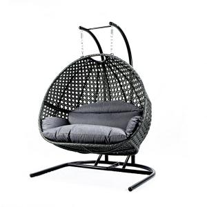 Unique Design Most Comfortable 2-Person Metal Patio Swing with CushionGuard Blue Foam Cushion