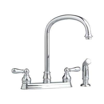 Hampton 2-Handle Standard Kitchen Faucet with Side Sprayer in Polished Chrome