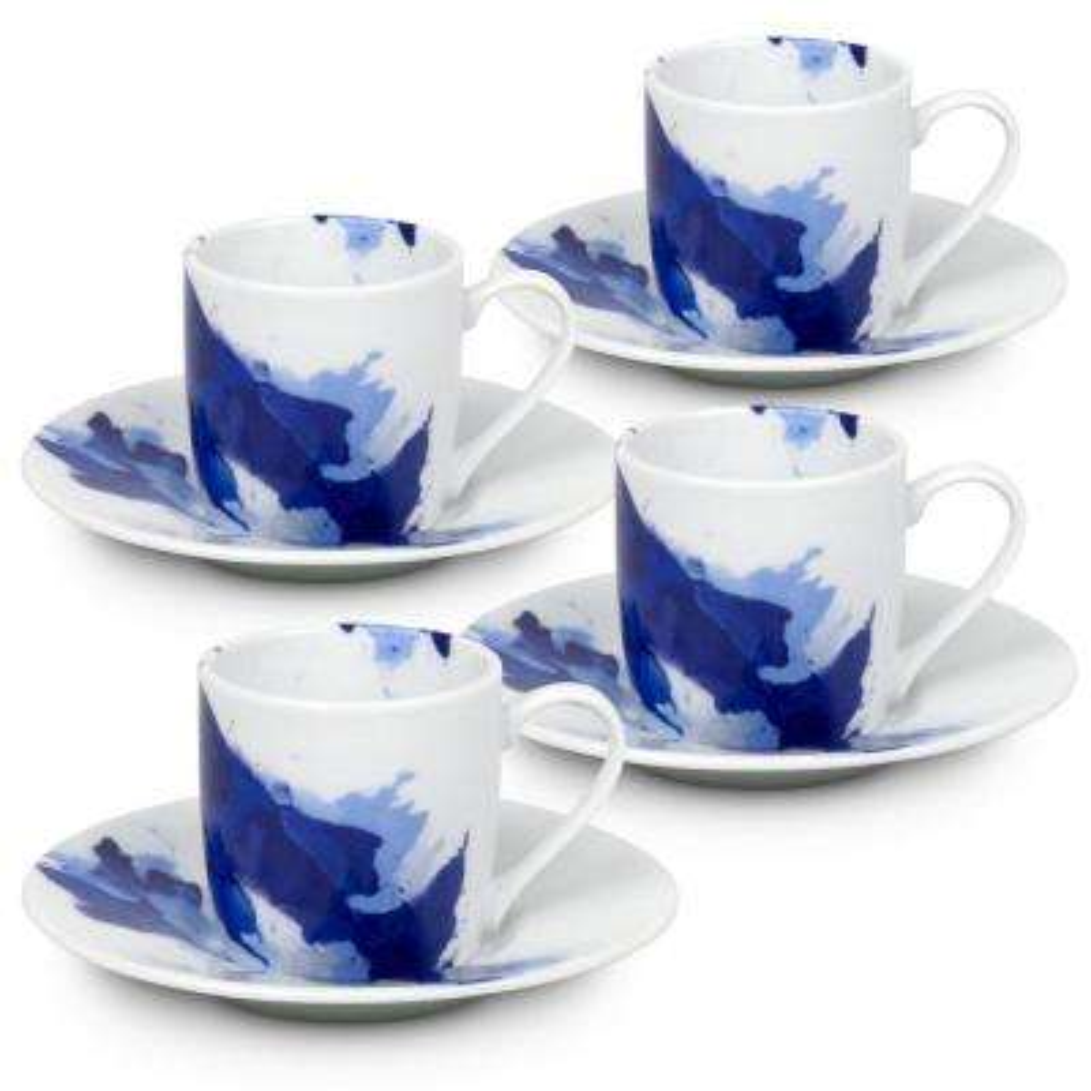 Konitz 4-Piece Seeing Blue Porcelain Espresso Set