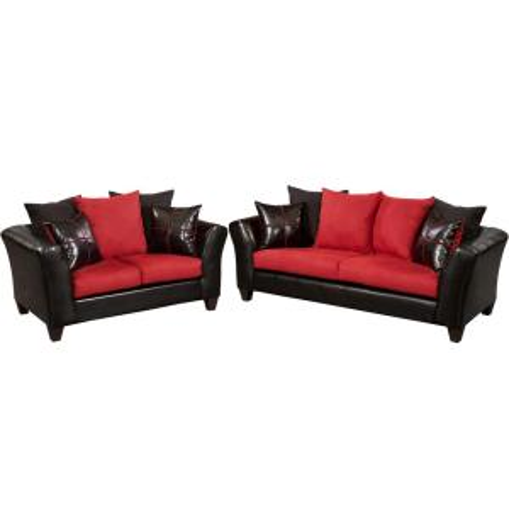internet 301092492 flash furniture riverstone victory lane cardinal microfiber black red living room set - Red Living Room Set