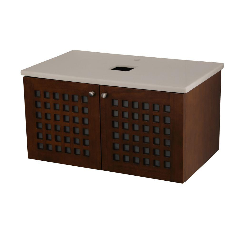 Barclay Products Ceylon 32 in. W x 19-1/8 in. D Wall Hung Basin Cabinet in Chestnut with Marble Top in White-DISCONTINUED