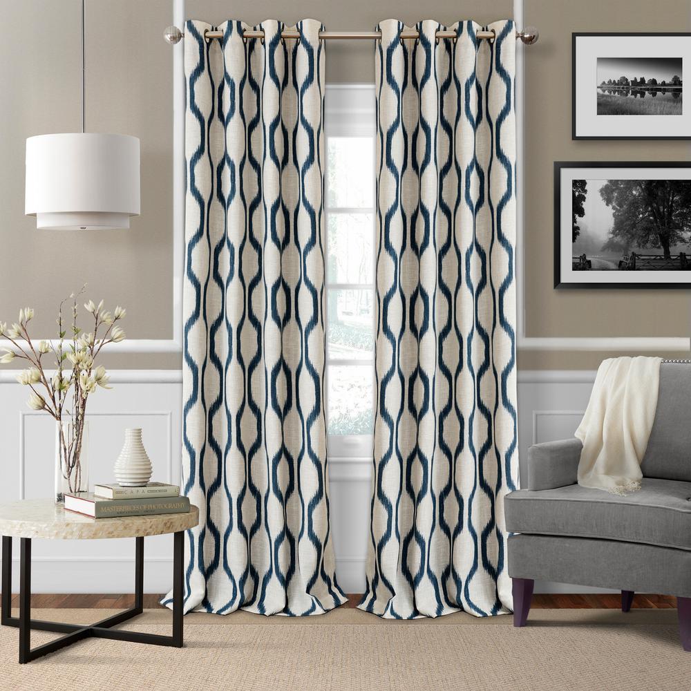 Blackout Blackout Room Darkening Grommet 95 in. Linen Window Curtain Drape Panel in Indigo