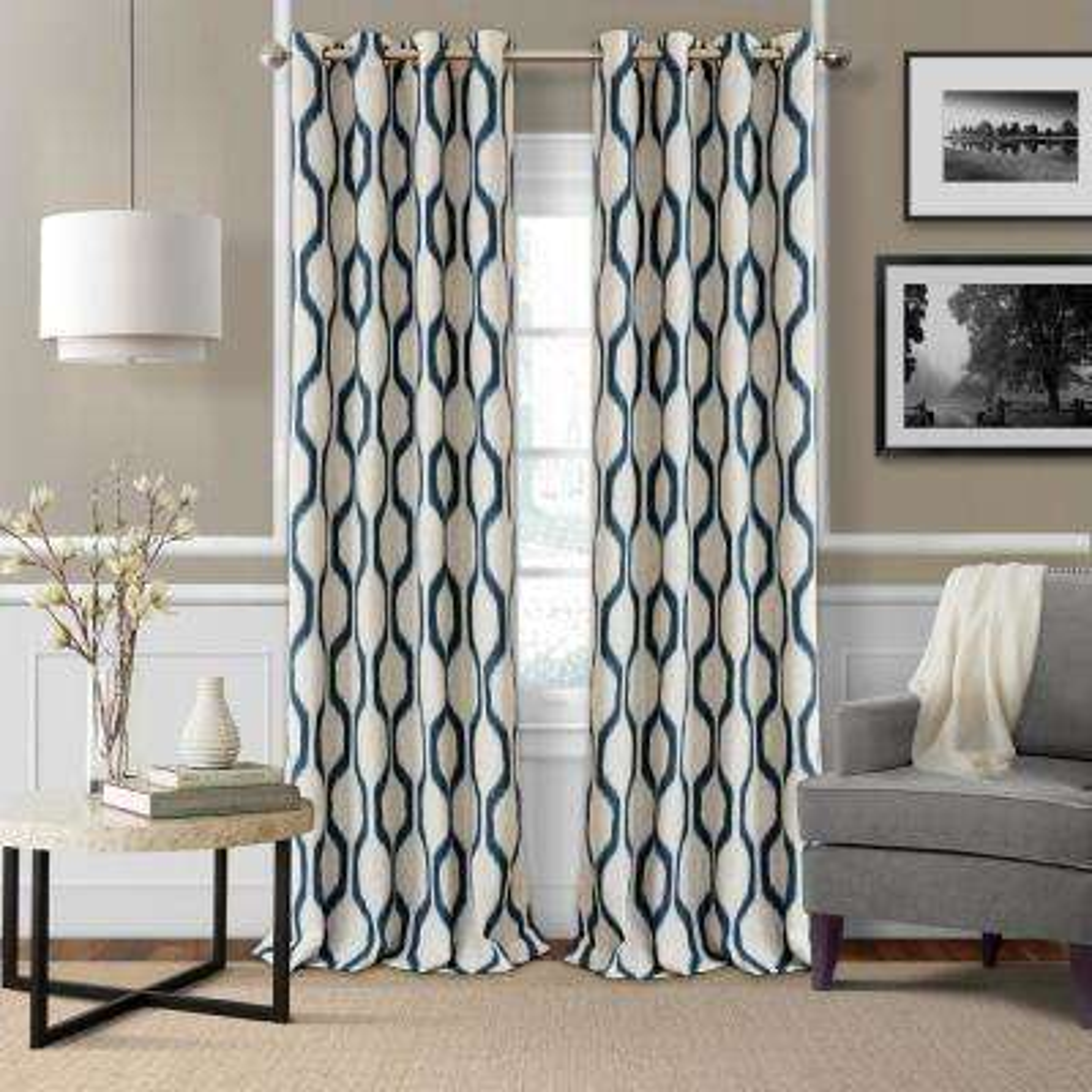 Renzo Ikat Geometric Linen Room Darkening Window Curtain