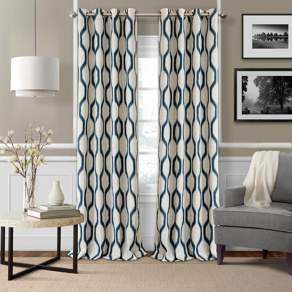 Elrene Renzo Blackout Room Darkening Grommet 95 In. Linen Window Curtain  Drape Panel In Indigo 026865901276   The Home Depot