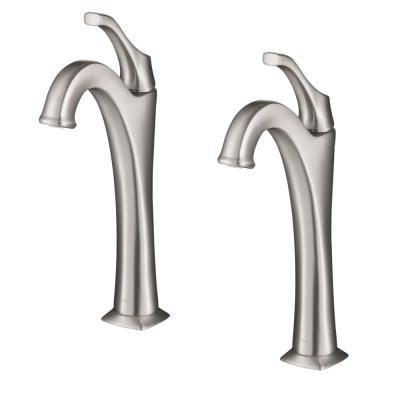 Arlo Single Hole Single-Handle Vessel Bathroom Faucet with Pop Up Drain in Spot-Free All-Brite Brushed Nickel (2-Pack)