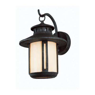 1 Light Rust Outdoor Wall Mount Lantern With Frosted Glass