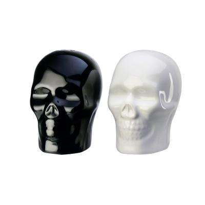 Season Skulls 1.5 oz. Black-White Ceramic Salt and Pepper Shakers with Figural Shapes