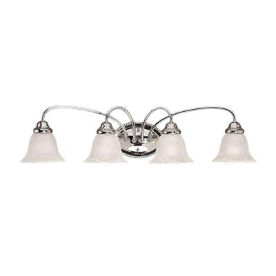 4-Light Chrome Vanity Light with Faux Alabaster Glass