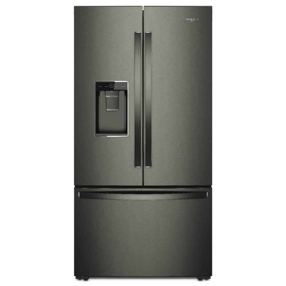 French Door Refrigerator In Black Stainless Counter Depth