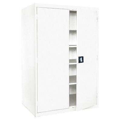 Elite Series 72 in. H x 46 in. W x 24 in. D 5-Shelf Steel Recessed Handle Storage Cabinet in White