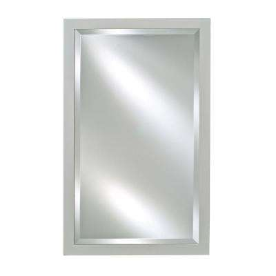 Single Door 16 in. x 22 in. Recessed Medicine Cabinet Basix Antique Satin White