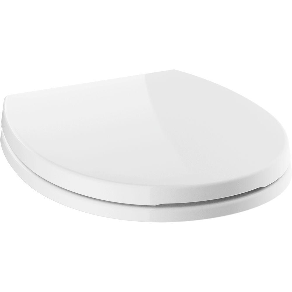 Morgan Round Closed Front Toilet Seat with NoSlip Bumpers in White