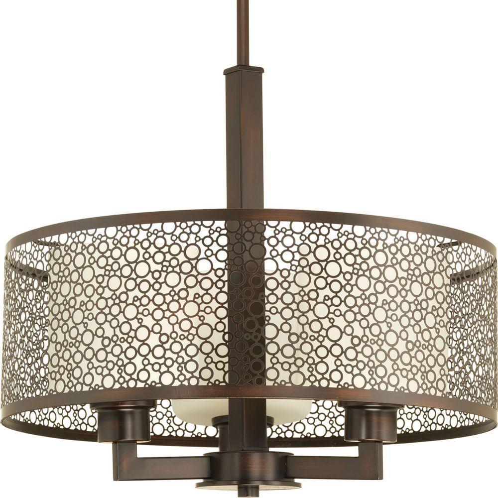 Mingle Collection 3 Light Antique Bronze Pendant With Natural Parchment Gl