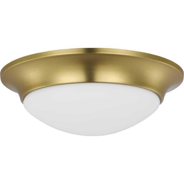 Etched Glass 11.5 in. Close-to-Ceiling Satin Brass 1-Light Semi-Flush Mount