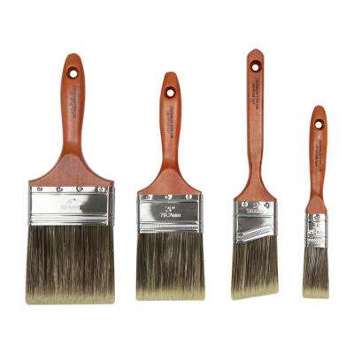 1 in. Flat, 2 in. Angle Sash, 3 in. Flat, 4 in. Flat Polyester Blend Brush Set (4-Pack)