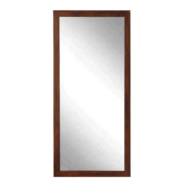 Oversized Brown Composite Hooks Mid-Century Modern Farmhouse Mirror (64 in. H X 30 in. W)