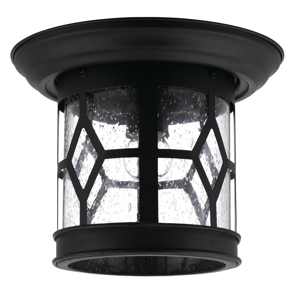 CANARM Atlanta 1-Light Outdoor Black Flush Mount-IOL207BK