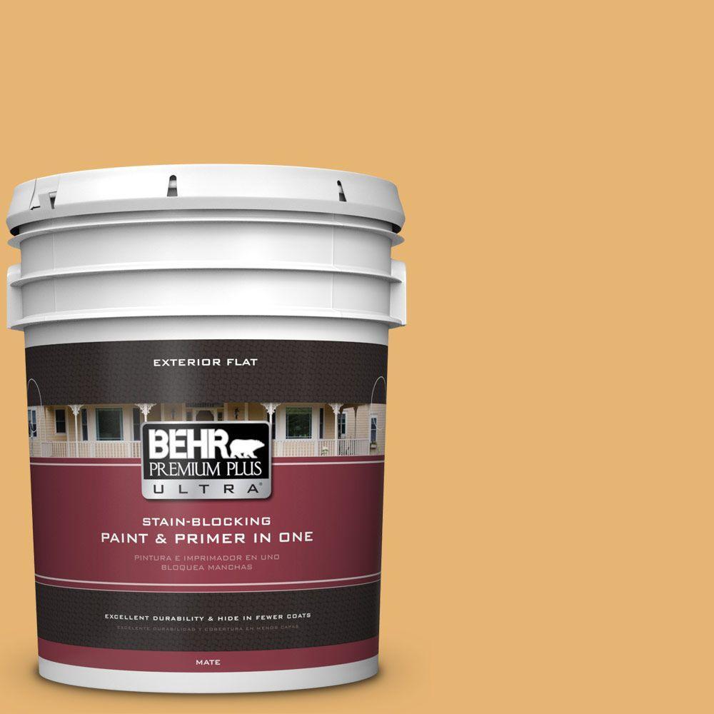 BEHR Premium Plus Ultra 5-gal. #PPU6-4 Pyramid Gold Flat Exterior Paint