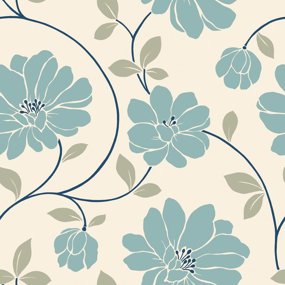 The Wallpaper Company 56 sq. ft. Blue and Cream Large Scale Retro Floral Trail Wallpaper