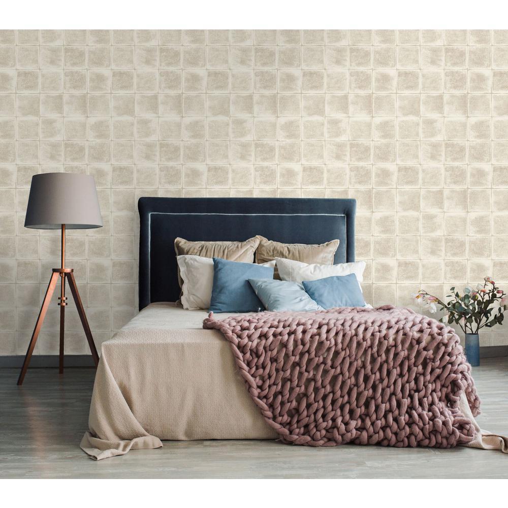 Walls Republic Cream Textured Tile Wallpaper