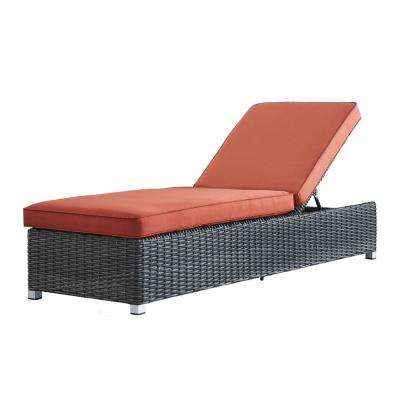 Camari Charcoal Wicker Adjustable Outdoor Chaise Lounge Chair with Red Cushion