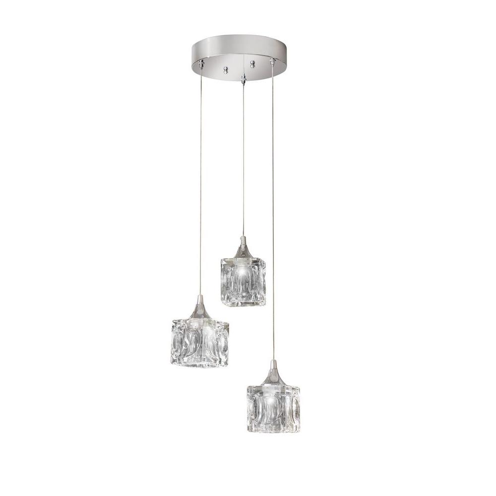 Home Decorators Collection 3 Light Polished Chrome Integrated Led Pendant With Clear Cube Glass