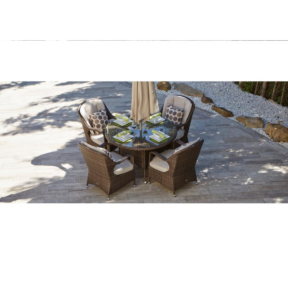 Ordinaire DIRECT WICKER Bavaro 5 Piece Wicker Round Outdoor Dining Set With Beige  Cushions