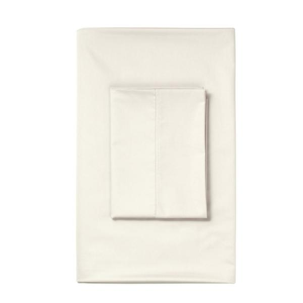 The Company Store Ivory 450 Thread Count Sateen Queen Fitted Sheet