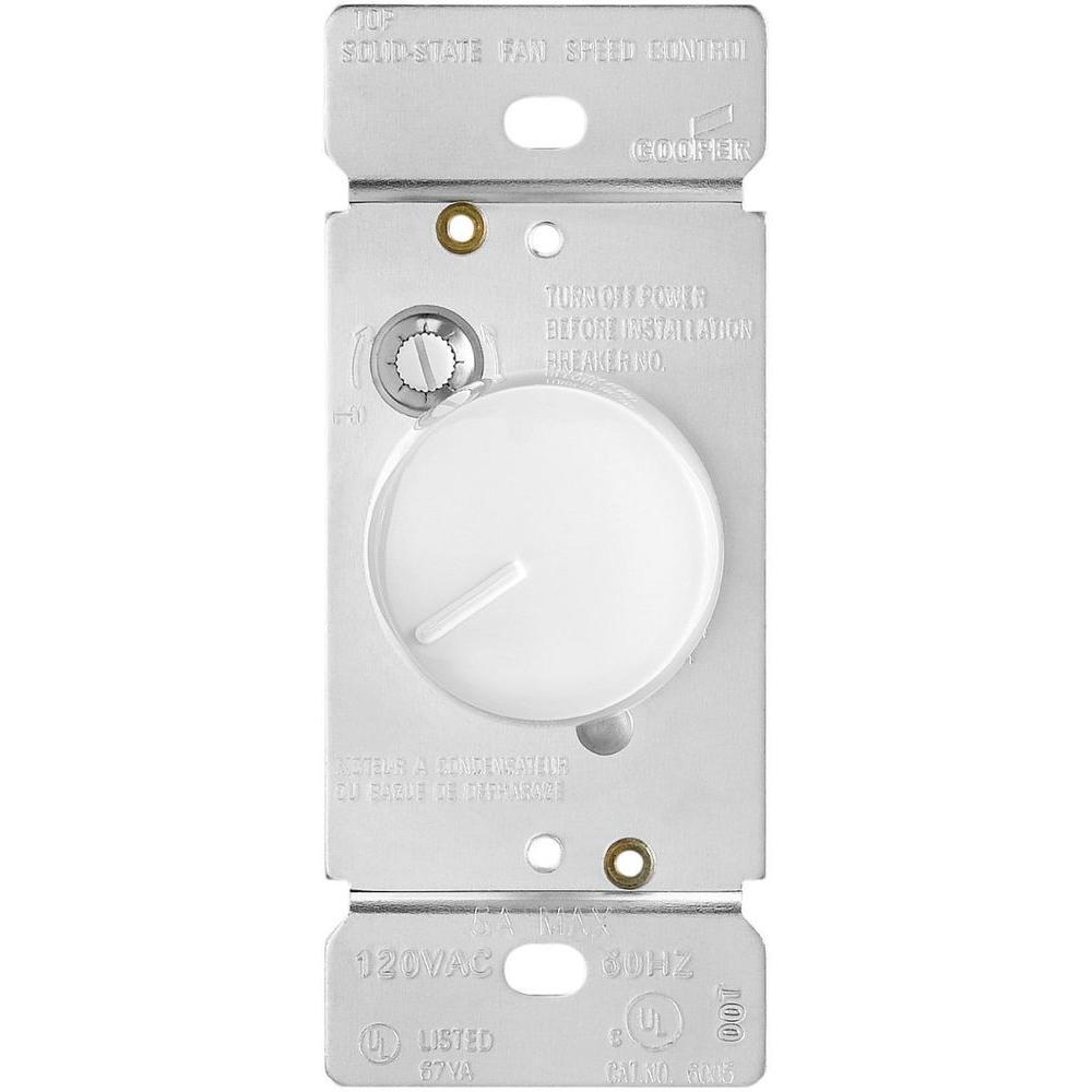 Eaton 5 Amp 120-Volt Single-Pole Quiet 3-Speed Fan Control Rocker Switch,  White