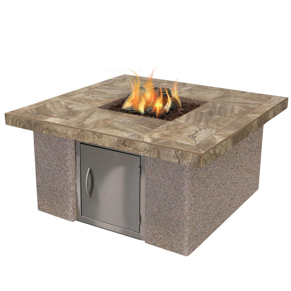 Cal Flame Stucco and Tile Gas Fire Pit in Brown with Log Set and Lava Rocks