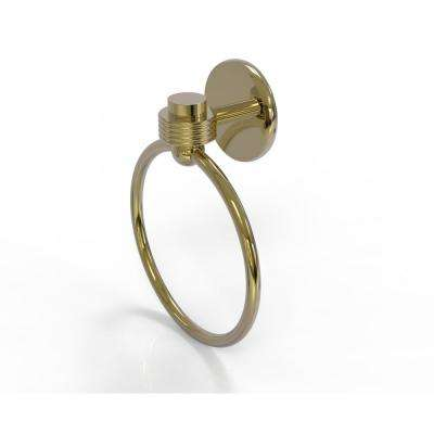 Satellite Orbit One Collection Towel Ring with Groovy Accent in Unlacquered Brass