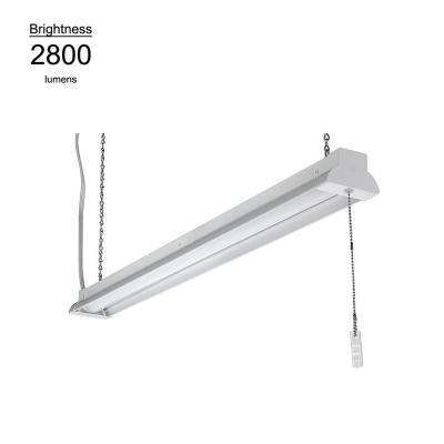 2800 Lumen 3.3 ft. White Integrated LED Shoplight Garage Light Fixture with Pull Chain