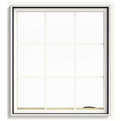 36 in. x 40 in. W-2500 Series White Painted Clad Wood Right-Handed Casement Window with Colonial Grids/Grilles