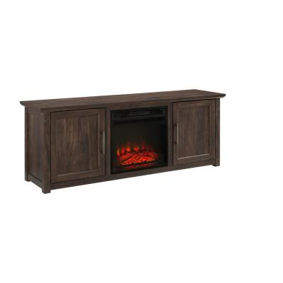 Camden Dark Walnut 58 in. Low Profile TV Stand with Fireplace Fits 60 in. TV with Cable Management
