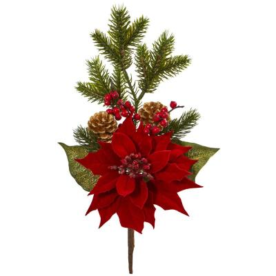 Indoor 17 Poinsettia, Berry and Pine Artificial Flower Bundle (Set of 6)