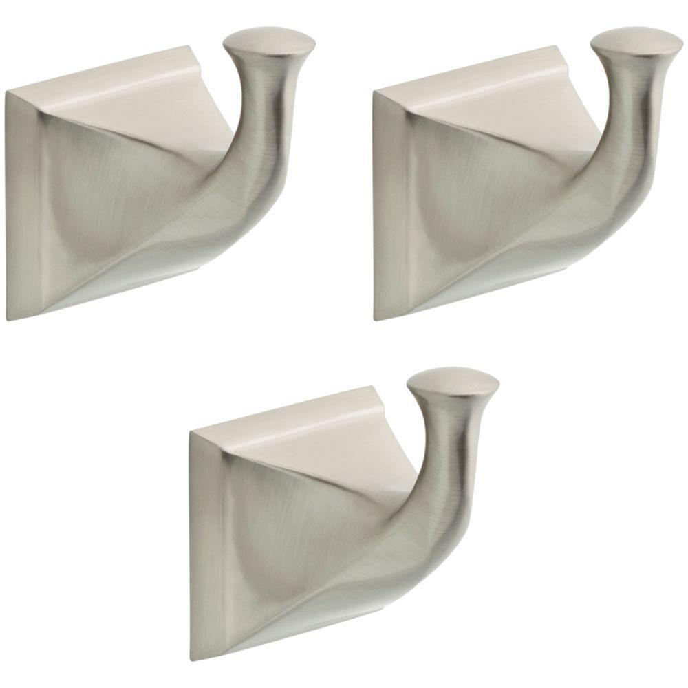 Everly 3-Piece Towel Hook Bath Hardware Set in SpotShield Brushed Nickel