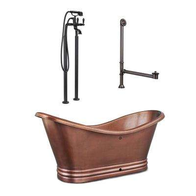 Euclid 6 ft. All-in-1 Copper Freestanding Flat Bottom Bathtub Kit in Antique Copper with Pfister Faucet and Drain
