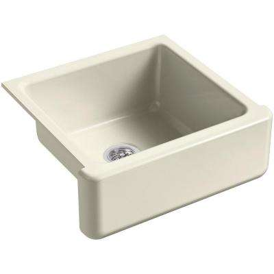 Whitehaven Farmhouse Apron-Front Cast Iron 24 in. Single Basin Kitchen Sink in Cane Sugar