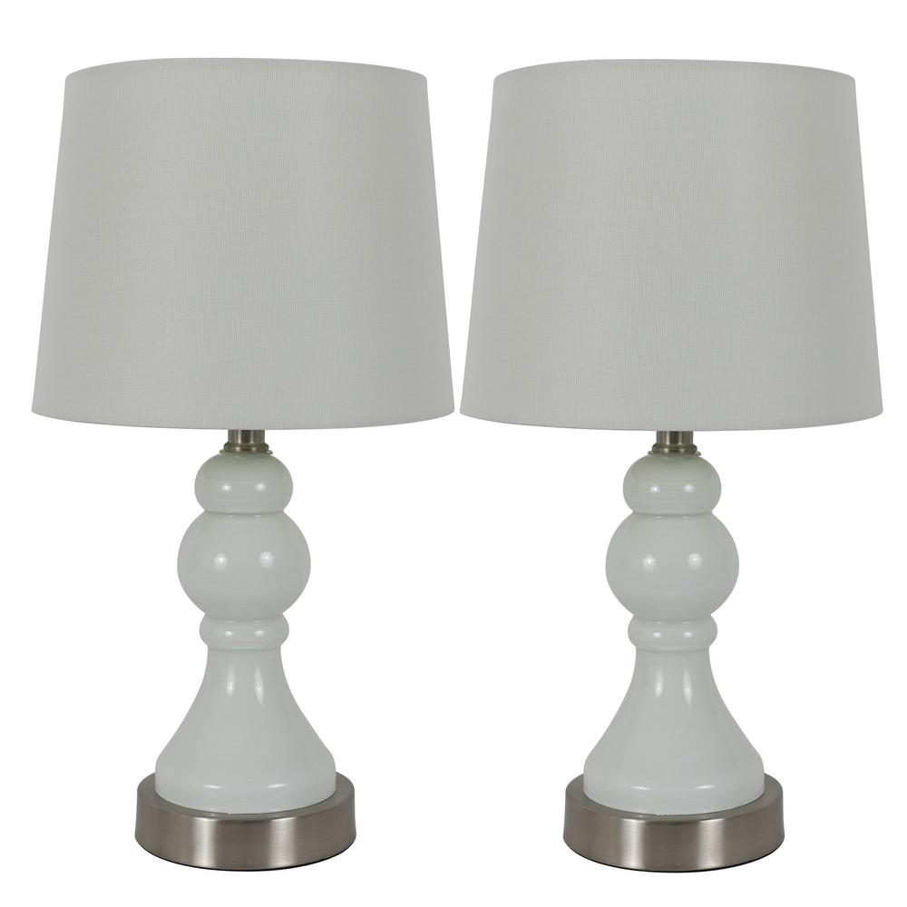 Decor Therapy Draper 17.25 in. White Table Lamps with USB Ports with Lamp Shades (Set of 2)