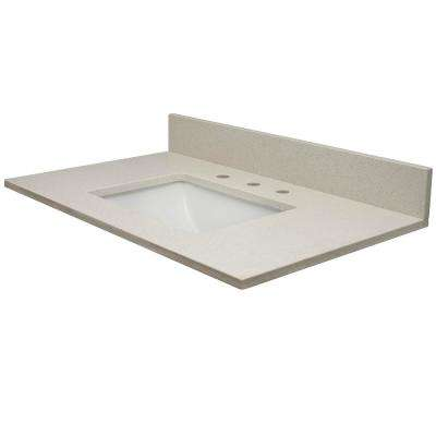 49 in. W x 22.5 in. D Quartz Vanity Top in White Sands with Rect White Basin