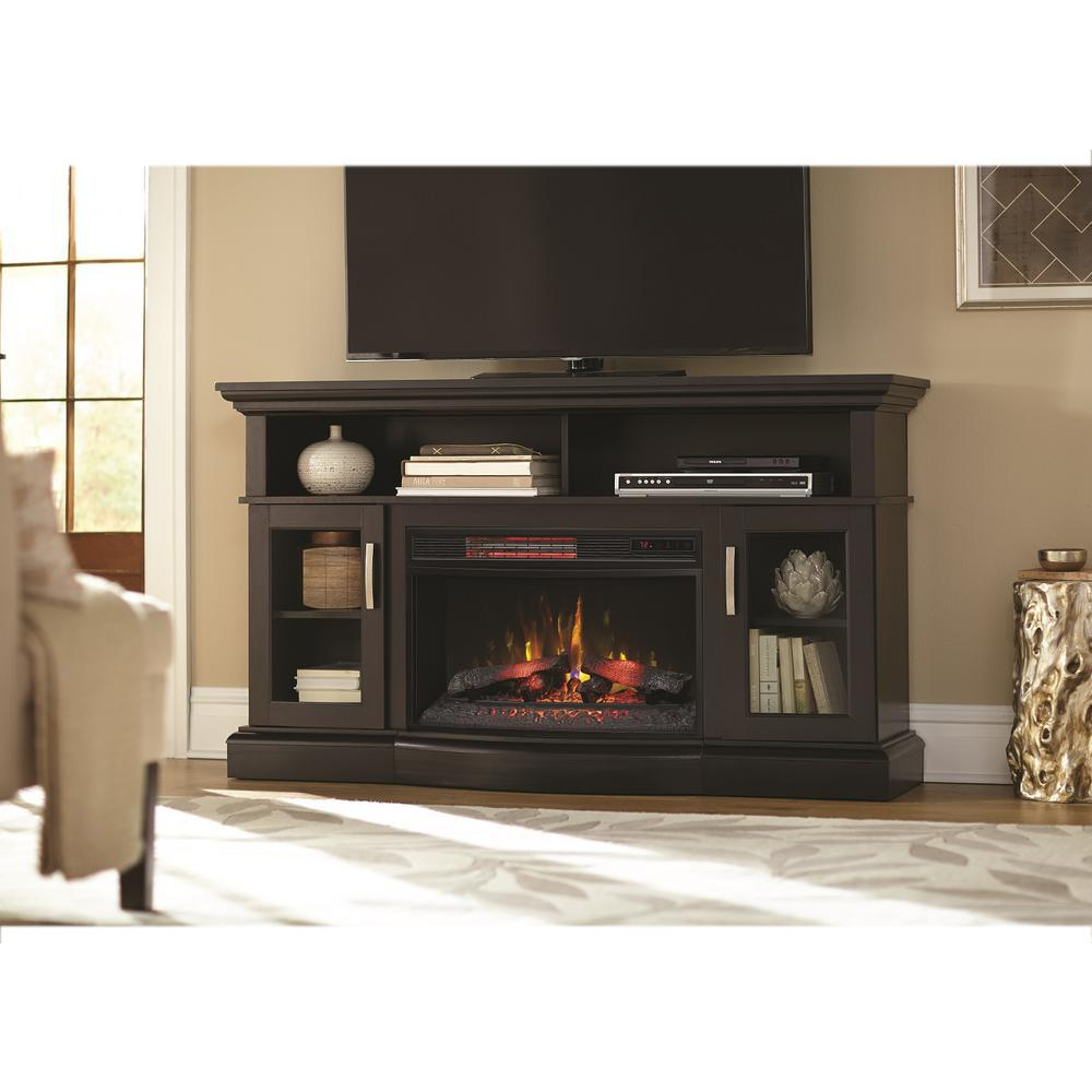 The Hawkings Point TV stand with a 25 in. infrared quartz electric fireplace for TVs up to 65 in. and up to 90 lbs. features a plank top in a Rustic Black finish. Storage options include a partitioned