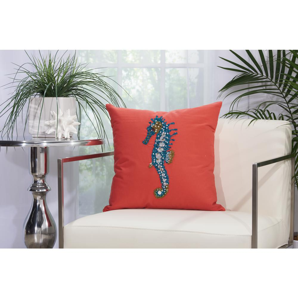 Mina Victory Beaded Seahorse 18 In. X 18 In. Coral Indoor And Outdoor Pillow