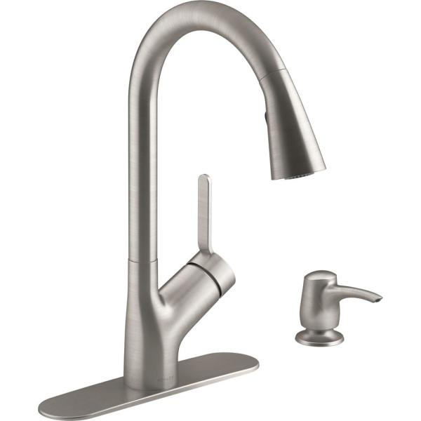 Setra Single-Handle Pull-Down Sprayer Kitchen Faucet in Vibrant Stainless