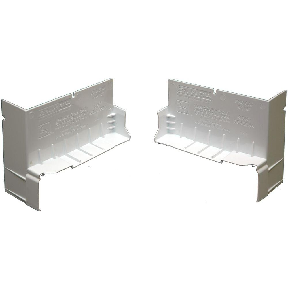 SureSill 4-1/8 in. White PVC End Caps for SureSill Sloped Sill Pans (Pair)