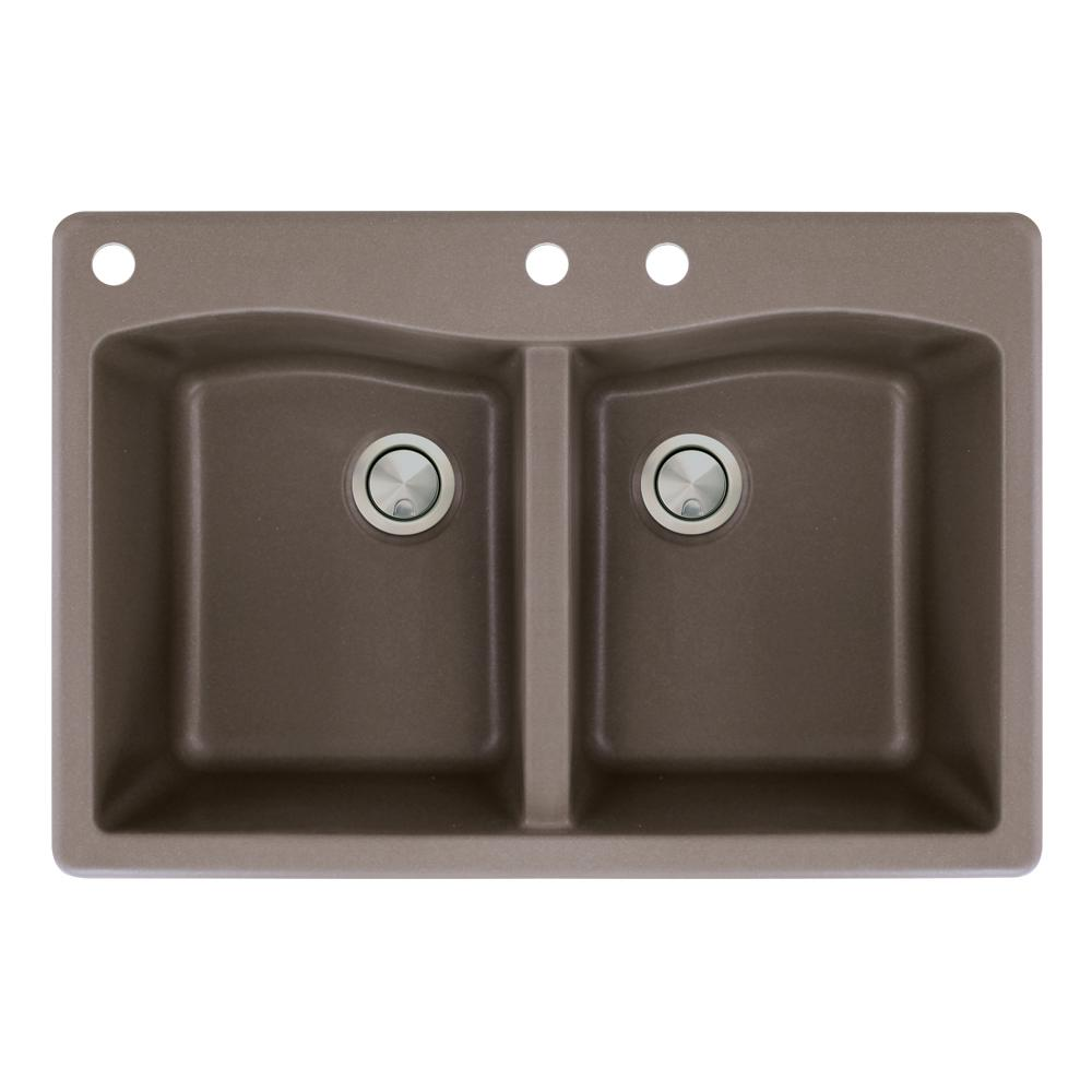 3 hole equal double bowl kitchen sink in espresso