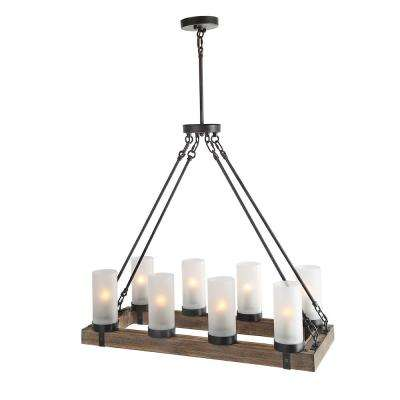 8-Light Rustic Bronze Chandelier with Frosted Cylinder Shade