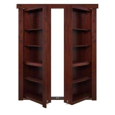72 in. x 80 in. Flush Mount Assembled Walnut Cherry Stained Universal Solid Core Interior French Bookcase Door