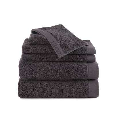 Classic 6-Piece Cotton Bath Towel Set in Night Gray