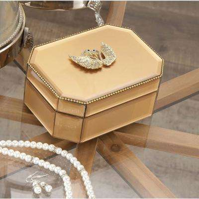 6 in. x 3 in. Wooden Gold Swan Glass Box